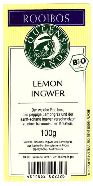 QUEENSLAND Rooibos LEMON INGWER  kbA 100 g